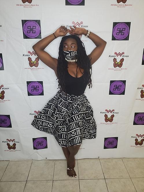 Mini Skirt, Headwrap and mask set