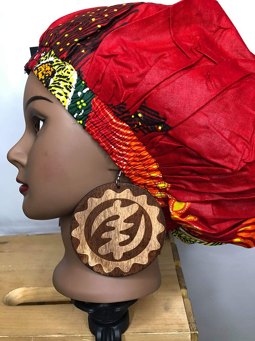 Wooden Gye Nyame earrings (dark colored )