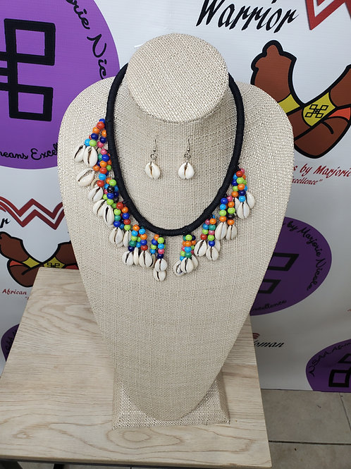 Multi colored beads & Cowrie Shell necklace sets