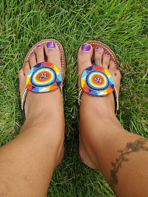 Size 39 handmade Maasai beaded sandals