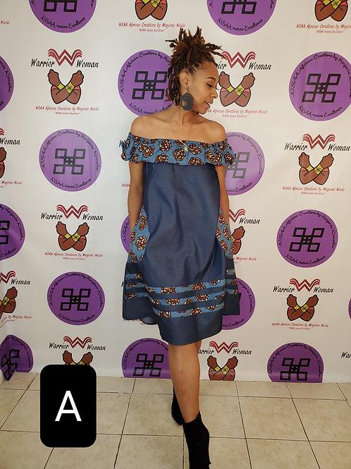 Denim & African Ankara Dress