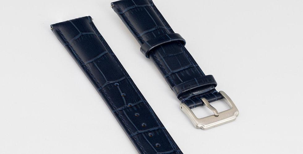 Dark Blue Leather Strap - Alligator Pattern