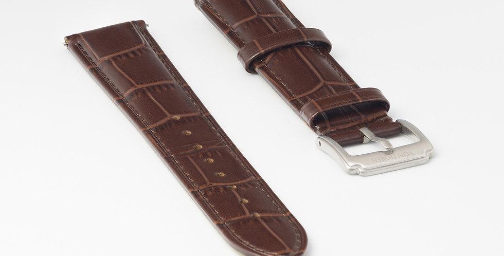 Brown Leather Strap - Alligator Pattern