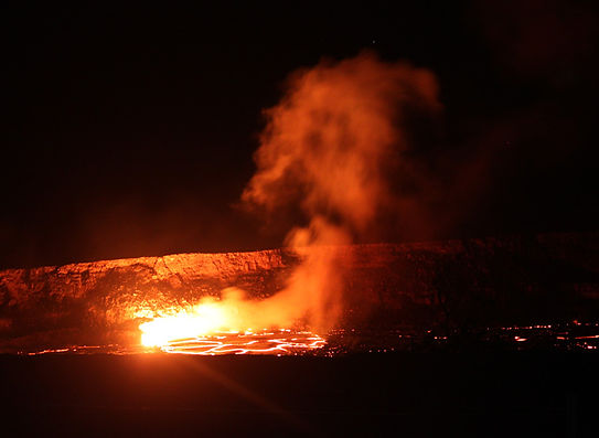Nighttime view Kilauea lava lake