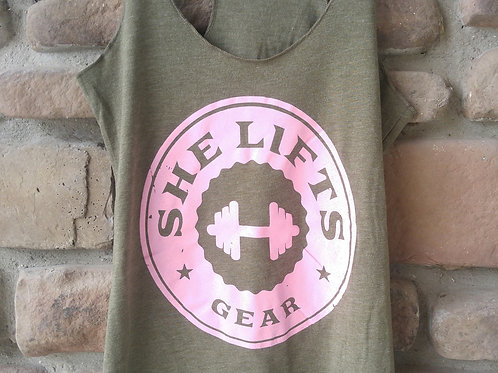 Military Green and Pink Logo Racerback