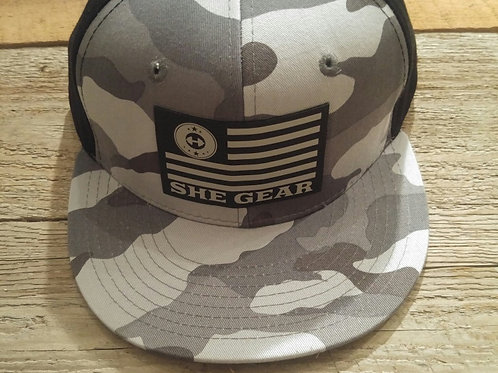 SHE GEAR Flag Camo Flat Bill Snapback
