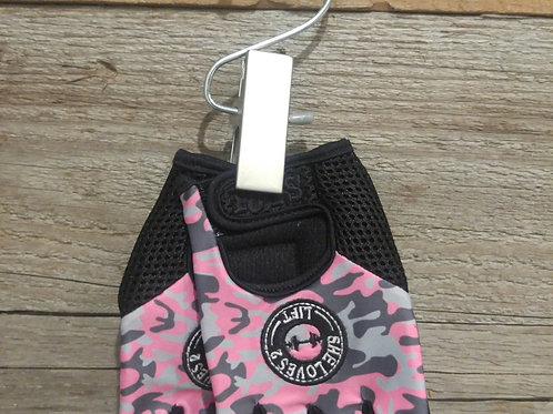 Pink and Grey Camo Gloves