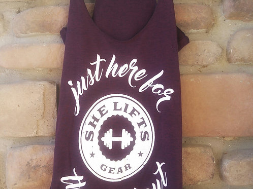JUST HERE FOR THE WORKOUT Maroon Triblend Racerback Tank