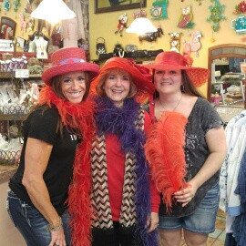 My Sister, Mom, and I dressed as members of the Red Hat Society in Victoria, BC