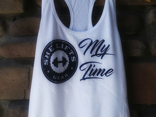 """my time"" black on white racerback tank"