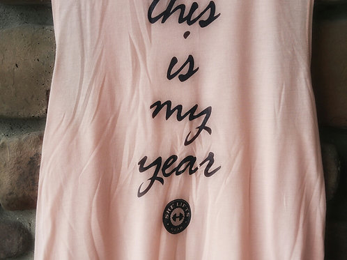 this is my year flowy  black on blush scoop muscle tank