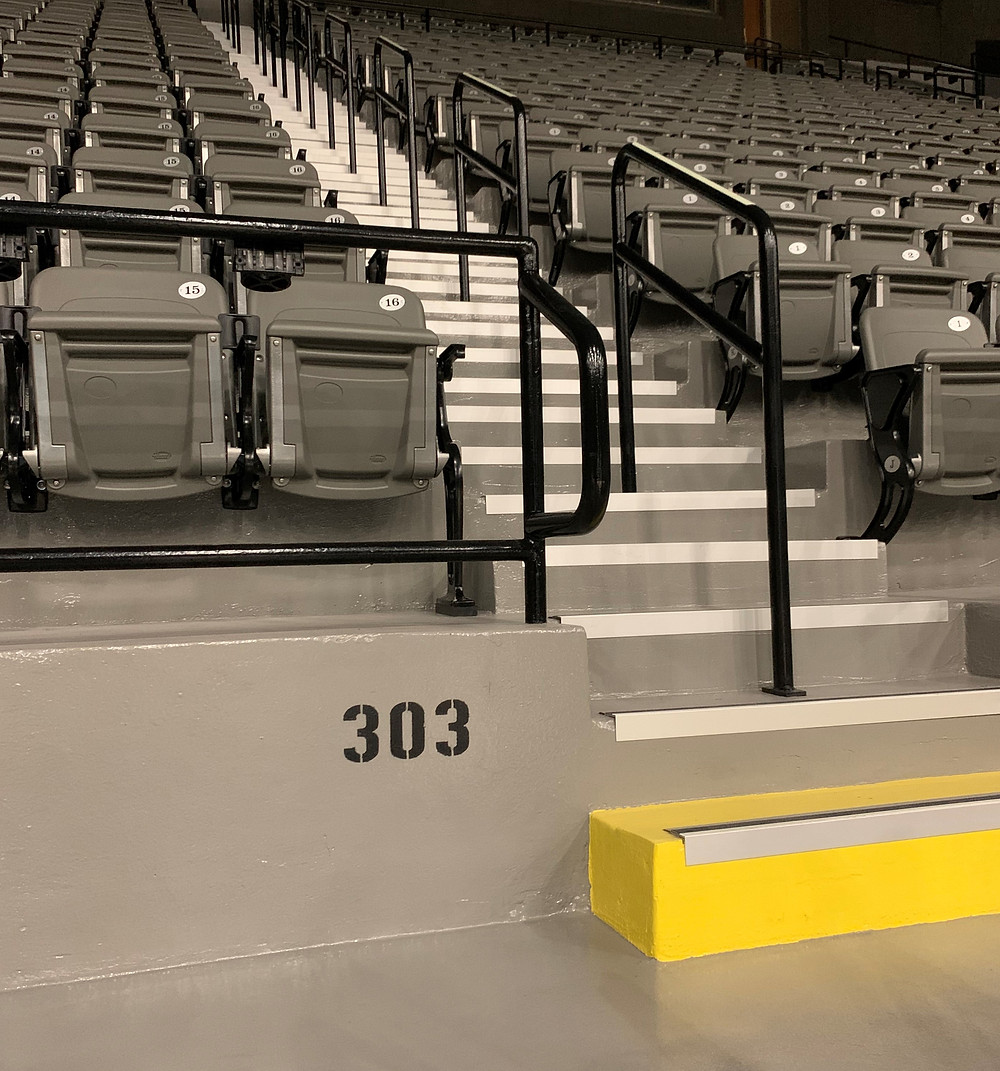 The $2.2 million renovations included repairing and painting the floors and walls, installing new seating, and adding handrails and reflectors. The floors were equipped with an abrasive, slip-resistant paint to prevent falls and reflectors were specifically placed for the lighting of walkways.
