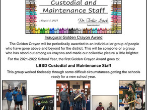 First-ever Golden Crayon Award given to LBSD Custodial and Maintenance staff