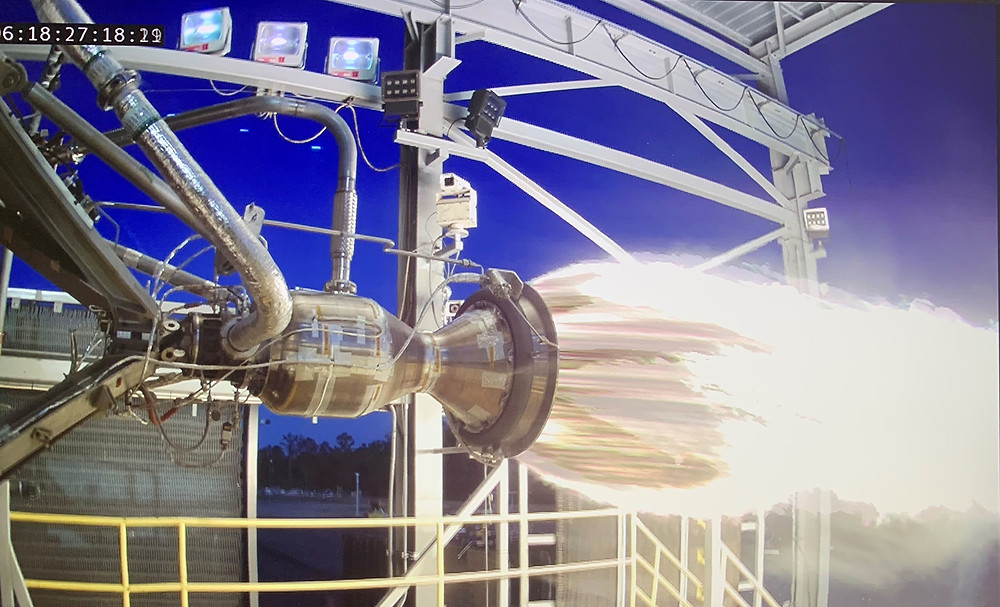 Virgin Orbit, a satellite-launch company, conducts a Thrust Chamber Assembly test on the E-1 Test Stand at Stennis Space Center. The company partnered with Stennis to conduct a recently completed series of hot fire tests totaling a cumulative 974.391 seconds.