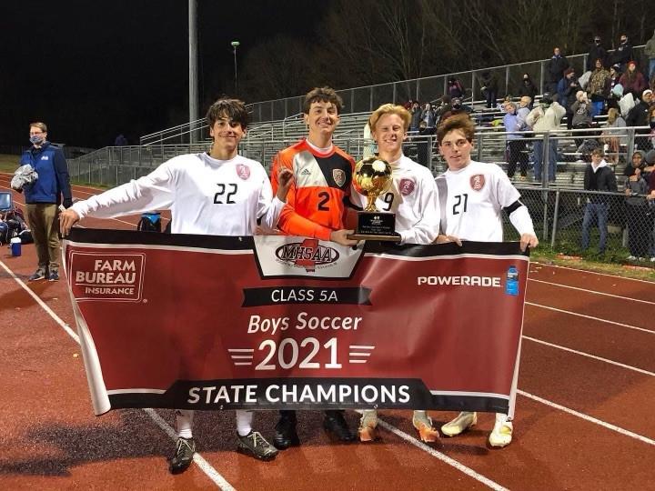 Seniors Carlos Torres, Justin Rolison, Nathaniel Mink, Ethan Hines  celebrating 5A State Championship