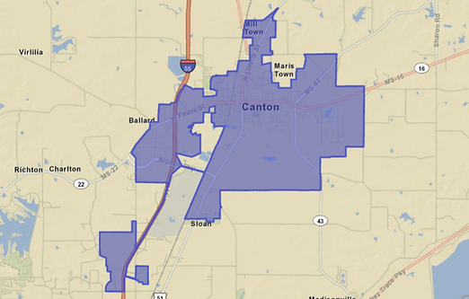 Canton MS Map