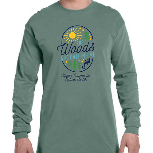 """""""The Woods Are Calling"""" Long Sleeve T-Shirt (Light Green)"""