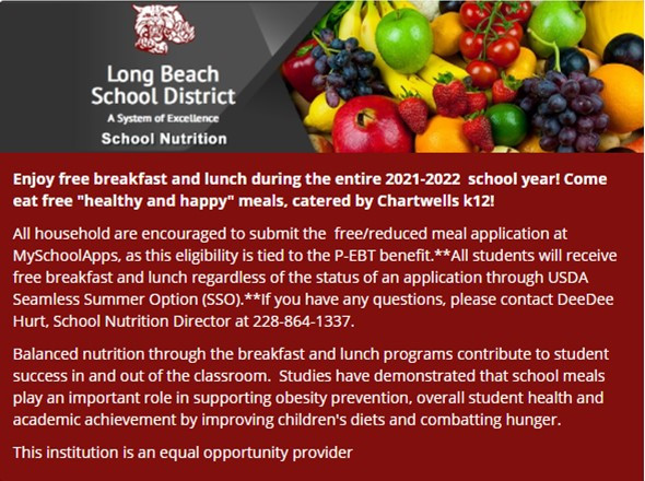 LBSD offers free breakfast and lunch to all students