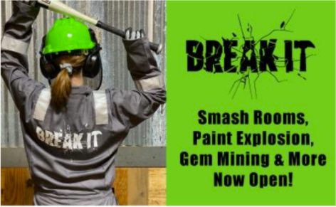 BREAK IT Smash Rooms, Paint Explosion, Gem Mining & More Now Open in Pearl, MS at Outlets of Mississippi