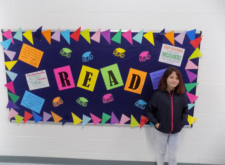 Pearl Upper Elementary recognized Annabella Pennington for AR points during first month of school