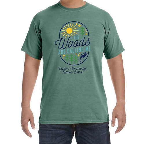 """The Woods Are Calling"" Short Sleeve T-Shirt (Light Green)"