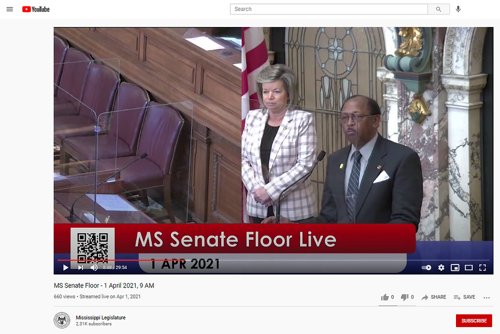 MS Legislature's YouTube Channel