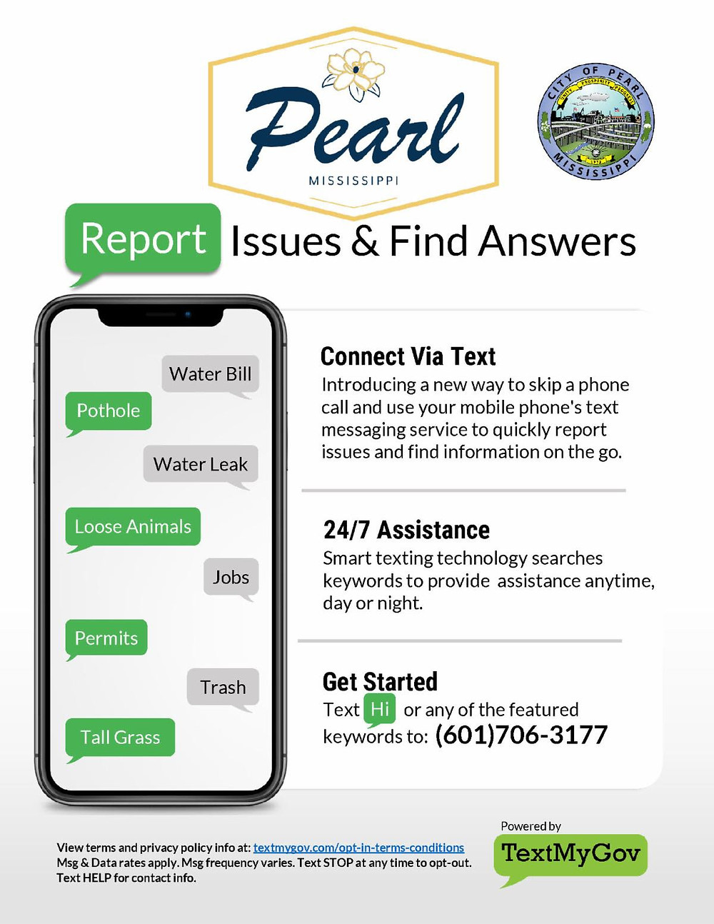 City of Pearl Report Issues and Find Answers with new text service