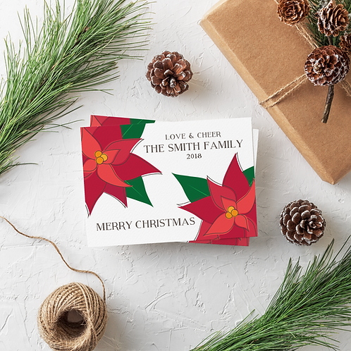 POINSETTIA - 5x7 FLAT GREETING CARD
