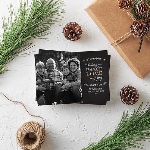 PEACE LOVE AND JOY - 5x7 FLAT GREETING CARD