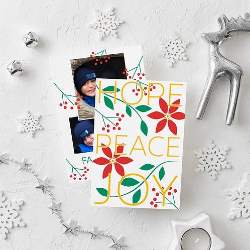 HOPE PEACE JOY - 5x7 FLAT GREETING CARD