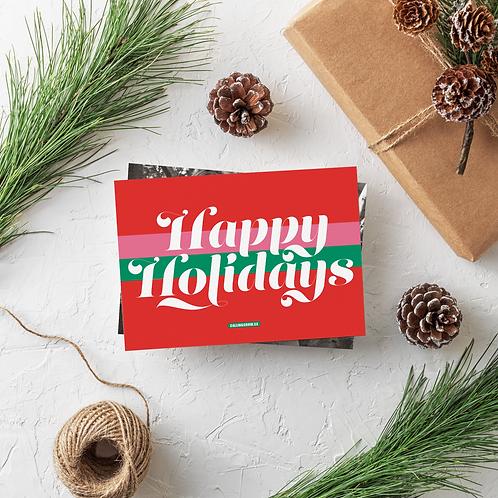 RETRO HAPPY HOLIDAYS - 5x7 FLAT GREETING CARD