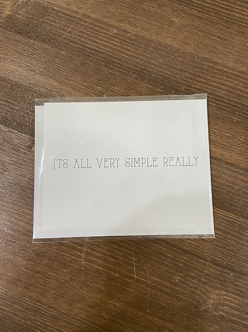 CC - ITS ALL VERY SIMPLE REALLY VALENTINE