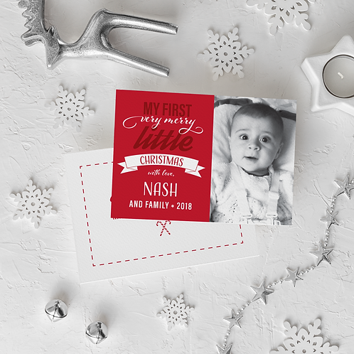 BABY'S FIRST CHRISTMAS - 5x7 FLAT GREETING CARD