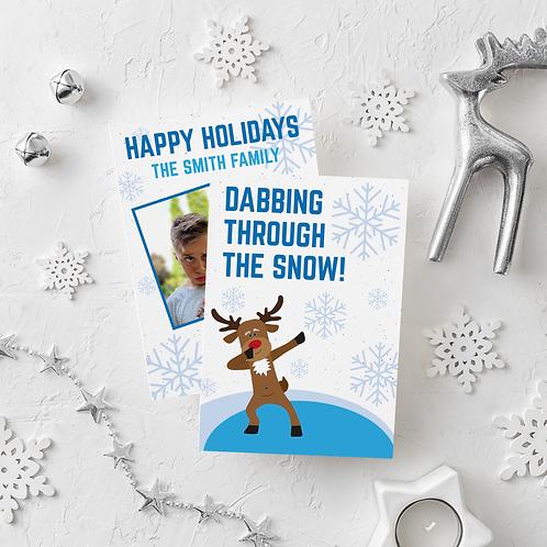 DABBING THROUGH THE SNOW - 5x7 FLAT GREETING CARD
