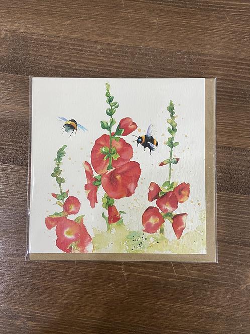 RT84 916 - HOLLYHOCK BEE CARD