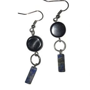 Black and Lapis Dangling Earrings