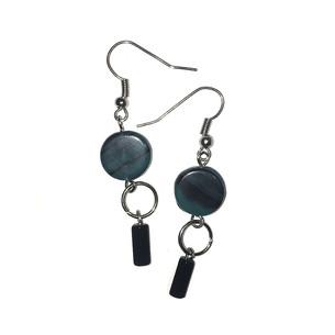 Deep Sea Green and Black Dangling Earrings