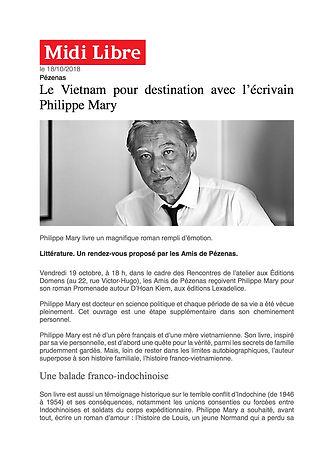 Promenade autour d'Hoan Kiem de Philippe Mary, Article Midi Libre 18-10-2018.jpg