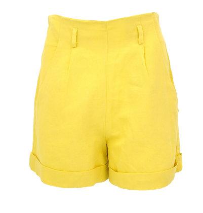 Yellow High Rise Linen Short