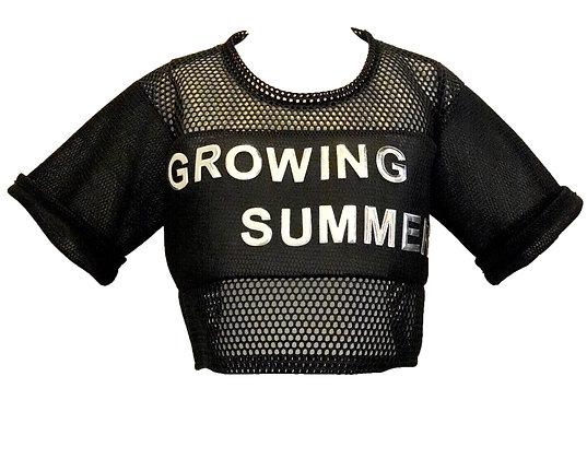 Growing Summer Black Mesh Top