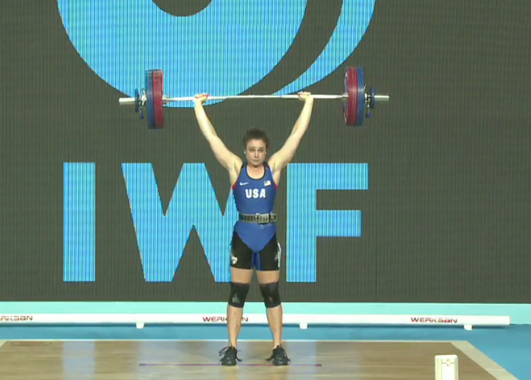 Jessie Bradley with a successful 114 kg clean and jerk at the IWF Junior World Championships in Tblisi, Georgia.