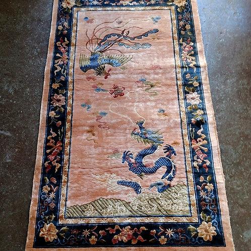 Vintage Elegant Dragon and Firebird Chinese Wool Rug