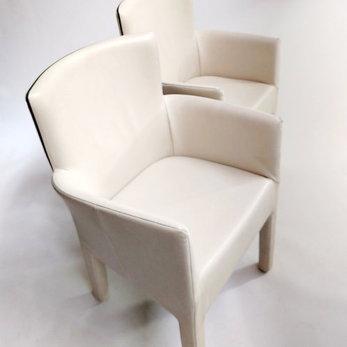 King Chair Cream-charcoal leather