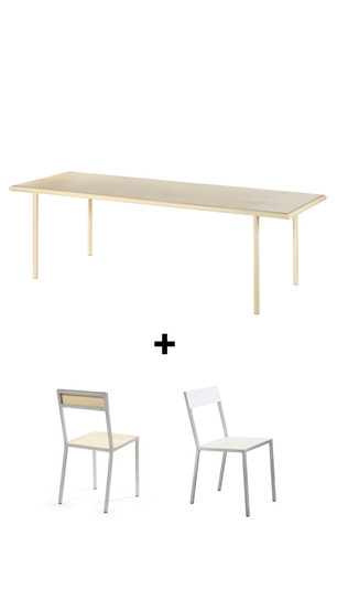 Buy a Muller Van Severen wooden table and receive two complimentary alu chairs in ivory and/or white*  click here for more info