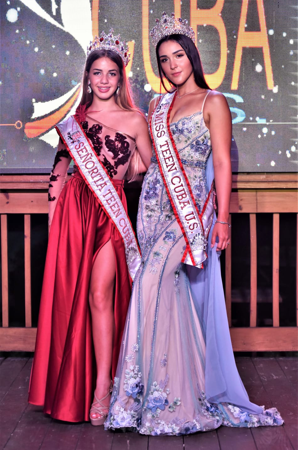 Dos reinas juveniles Cubanas Señorita Teen Cuba 2020, Angelina Asbert y Miss Teen Cuba U.S. 2020, Elisa Gregorio Vera organizado por BNC Belleza Nacional Cuba