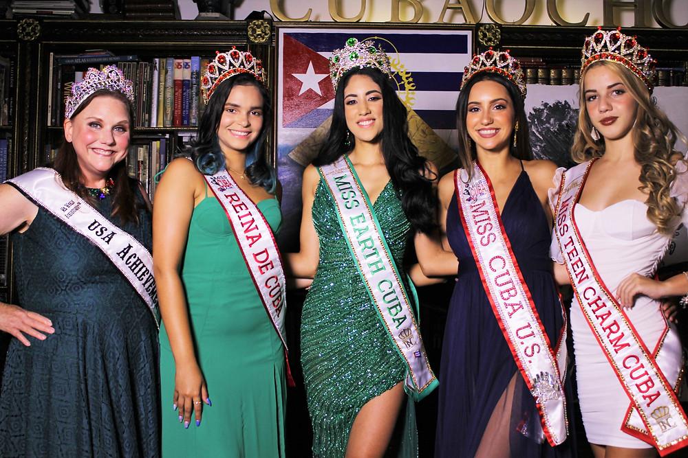 Miss Earth Cuba 2021 Cynthia Linnet Lau (Center) with Miss Teen Charm Cuba 2021, Angelina Asbert, Miss Cuba U.S. 2020, Genesis Leiva, Reina de Cuba 2021, Melissa Lugo along with Ms. USA Achievement World, Stayc Sharrow Simpson