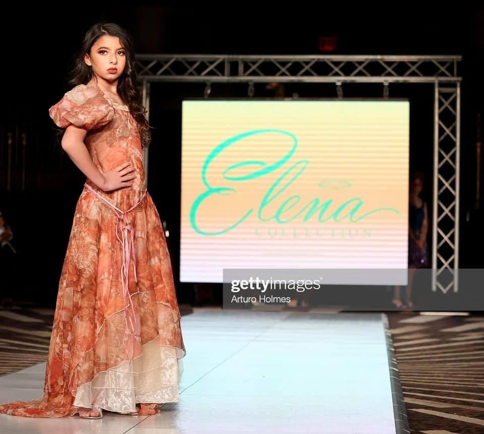 Miss Jr. Cuba U.S. 2020, Brielle Trujillo modeling Elena Pulido at NYFW