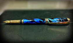 Blue with Gold Trim Fountain Pen