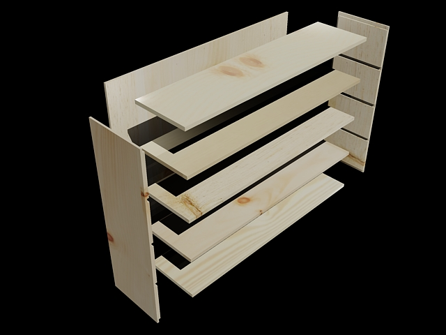 3D Model of a Pine Shelf
