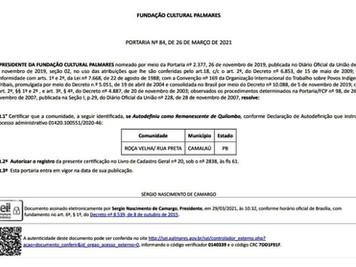 Comunidades Quilombolas atendidas pelo PROCASE recebem certificação da Fundação Cultural Palmares